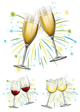champagne glasses: Wine glasses and champagne glasses illustration