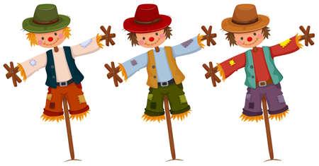 espantapajaros: Tres espantapájaros en los palillos de madera ilustración Vectores