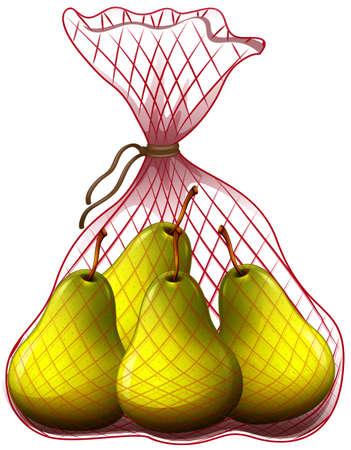 pile: Fresh pears in bag illustration