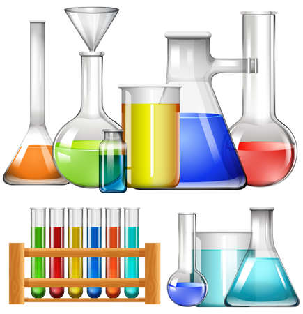mixtures: Glass beakers and test tubes illustration Illustration