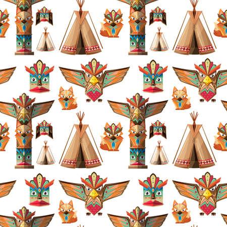 pole: Seamless background with totem poles  illustration Illustration