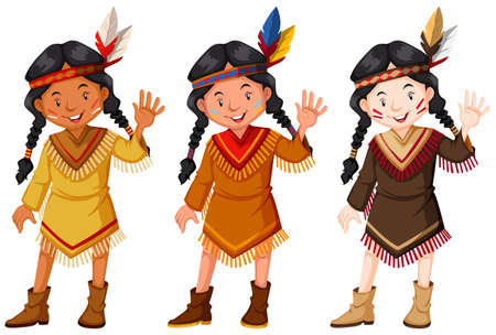 Native American Indians in brown costume illustration
