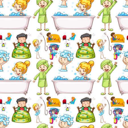 ver tv: De fondo sin fisuras con los niños y la ilustración de la rutina