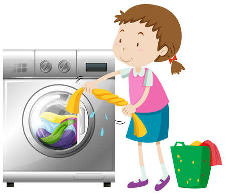 Girl doing laundry with washing machine illustration