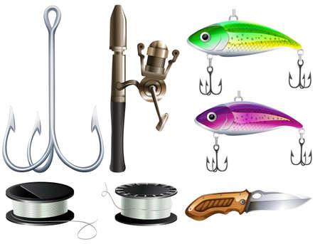 jeu de pêche avec des crochets et couteau illustration Vecteurs