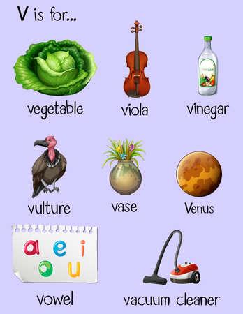 vowel: Words begin with letter V illustration