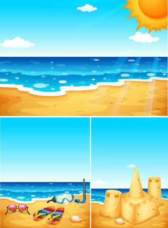 sandles: Scenes with beach and ocean illustration