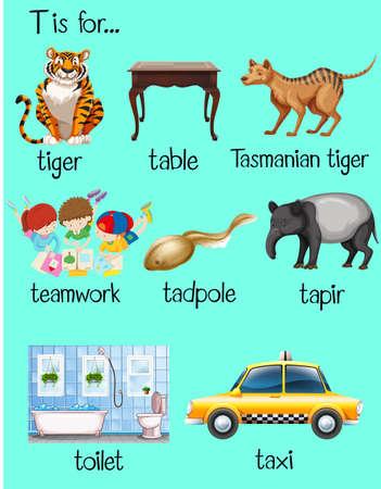 begin: Many words begin with letter T illustration Illustration
