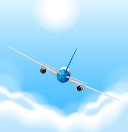 oversea: Back of airplane flying in the sky illustration