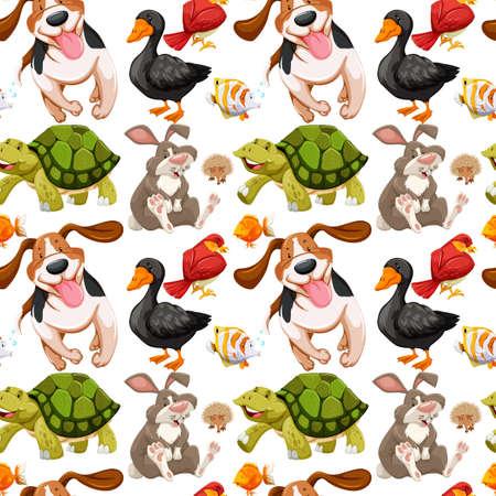 Seamless background with many animals illustration Illustration