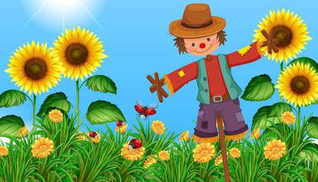 sunflower field: Scarecrow in the sunflower field illustration Illustration