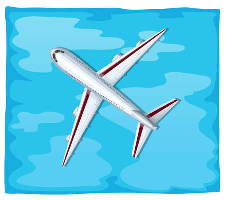 oversea: Aerial view of airplane flying over the sea illustration Illustration