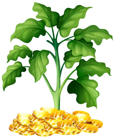 token: Plant growing on money illustration