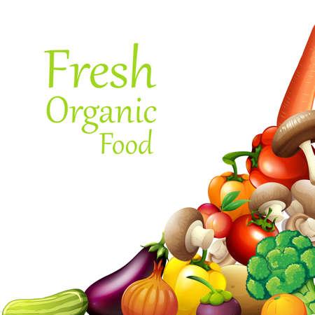 bulletin: Papaer design with fresh vegetables illustration Illustration