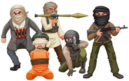Many villians and victim illustration Illustration