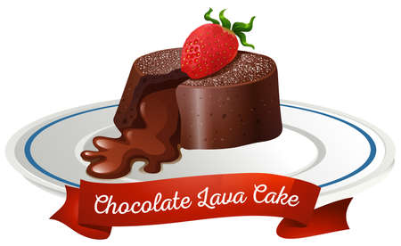 Chocolate lava cake on plate illustration