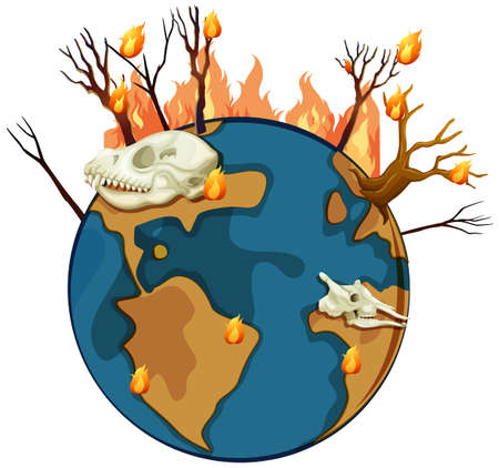 wildfire: Wildfire on planet earth illustration