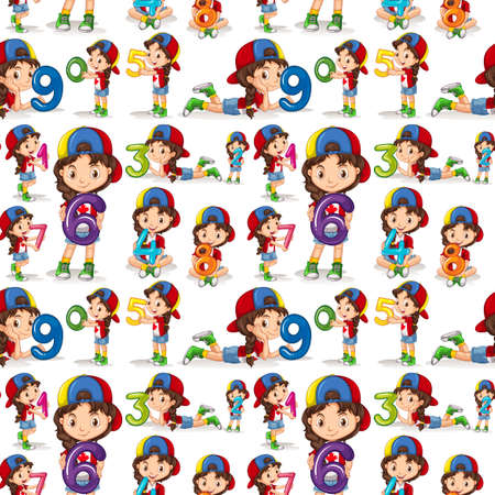 number of people: Seamless background with girl and numbers illustration