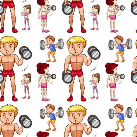 bodybuilding: Seamless background with people doing weightlifting illustration Illustration