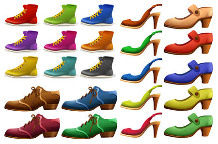shoe: Different designs of shoes illustration