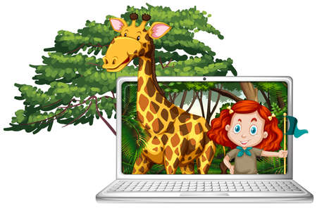 Girl and giraffe on computer screen illustration