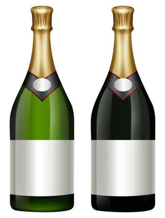 multiple image: Two bottles of champagne illustration