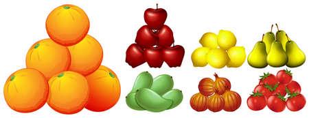 multiple image: Piles of different kinds of fruits illustration Illustration