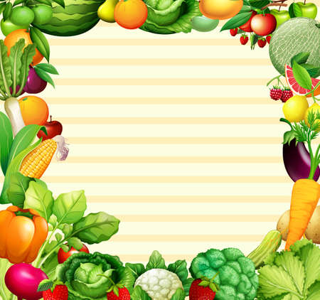 Felddesign mit Gemüse- und Fruchtillustration Vektorgrafik