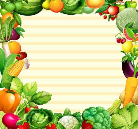 Marco de diseño con verduras y frutas ilustración Ilustración de vector