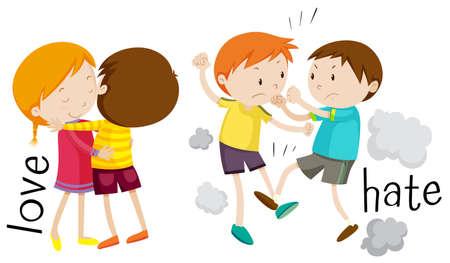 hate: Kids showing love and hate illustration Illustration
