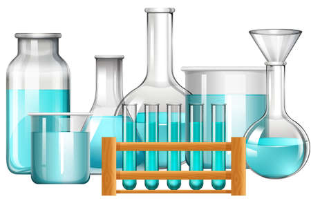 beakers: Glass beakers and test tubes with blue liquid illustration