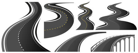 Different shape of roads illustration