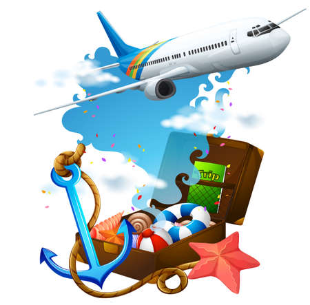 oversea: Airplane flying and suitcase illustration