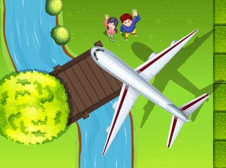 Aerial view of airplane flying over the park illustration