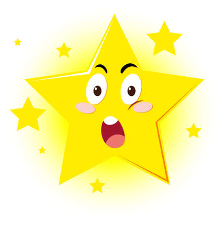 Star with facial expression illustration
