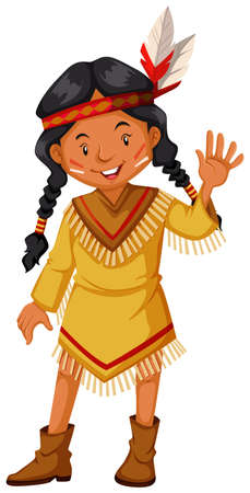 indian teenager: Native american indians greeting illustration Illustration