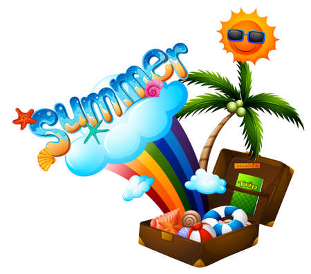 summer holiday: Summer theme with suitcase and sun illustration