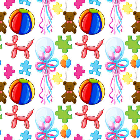 balloons teddy bear: Seamless background with balloons and teddy bear illustration Illustration