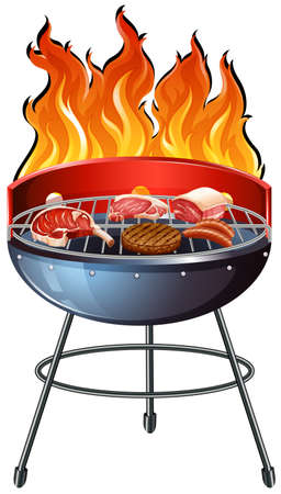 charcoal grill: Different types of meat on the grill illustration Illustration