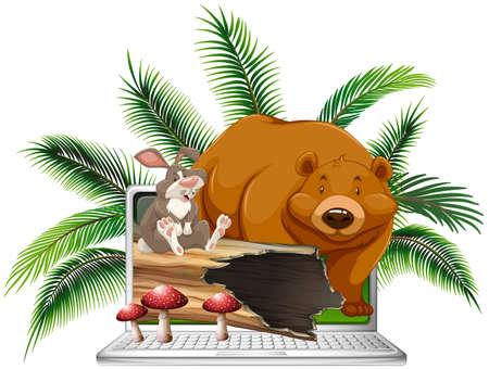 Wild bear and rabbit on computer screen illustration Illustration