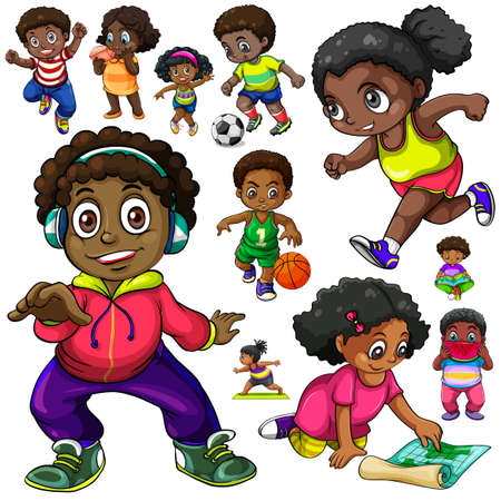 African American kids doing different things illustration