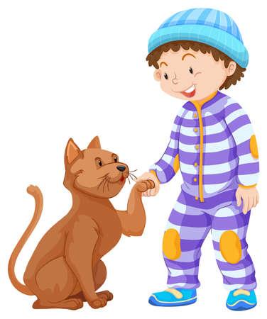 toddler: Boy toddler and pet cat illustration