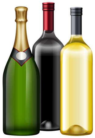 Three bottles of wine and champagne illustration