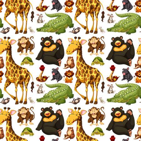 Naadloze achtergrond met wilde dieren illustratie