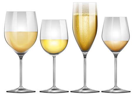 alcohol series: White wine in tall glasses illustration Illustration