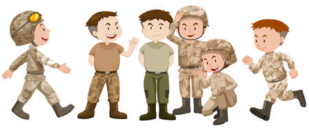 soldiers: Soldiers in brown uniform illustration