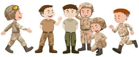 troop: Soldiers in brown uniform illustration