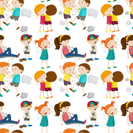 fighting: Seamless background with children in different actions illustration Illustration