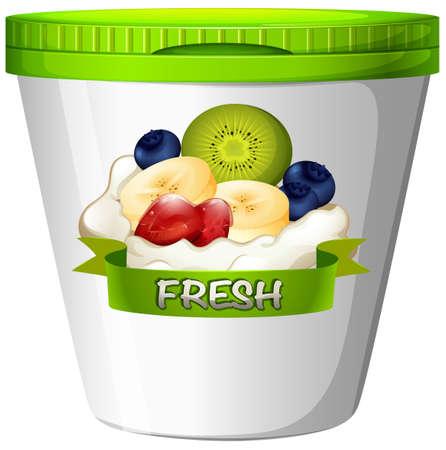 yoghurt: Cup of yoghurt with fresh fruits illustration