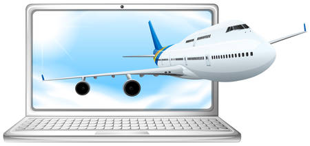 Airplane flying out of computer screen illustration